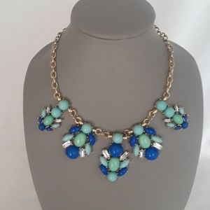 EC gold toned blue green statement necklace